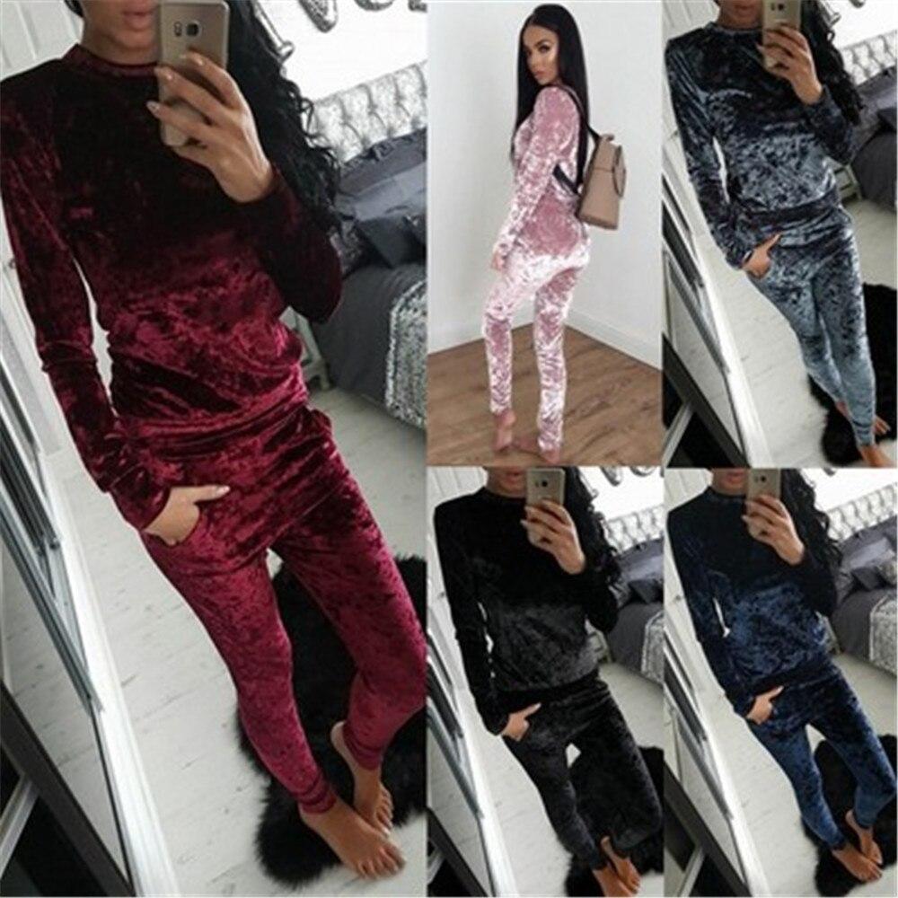 2 Piece Set Women Autumn Winter Tracksuit Velvet Hoodies Top And Pants Ladies Outfits Sweat Suits Two Piece Set Clothes Femme