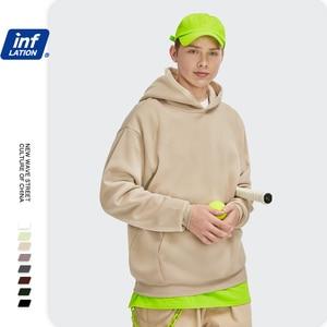 Image 3 - INFLATION Mens Comfy Pure Hoodies 2020 Autumn Fleece Oversized Hooded Sweatshirt Men Hip Hop Hoodie For Men Classic Hoody 169W