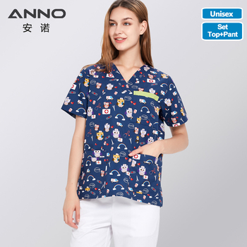 ANNO Hospital Staff Scrubs New Design Nursing Uniform Unisex Dental Clinic Supplies Nurse Work Uniforms Sets Tops Pants Optional