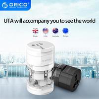 Adaptador Universal portátil ORICO UTA, enchufe inteligente todo en uno para uso mundial, enchufe para adaptador de viaje, enchufe eléctrico US/UK/EU/AU