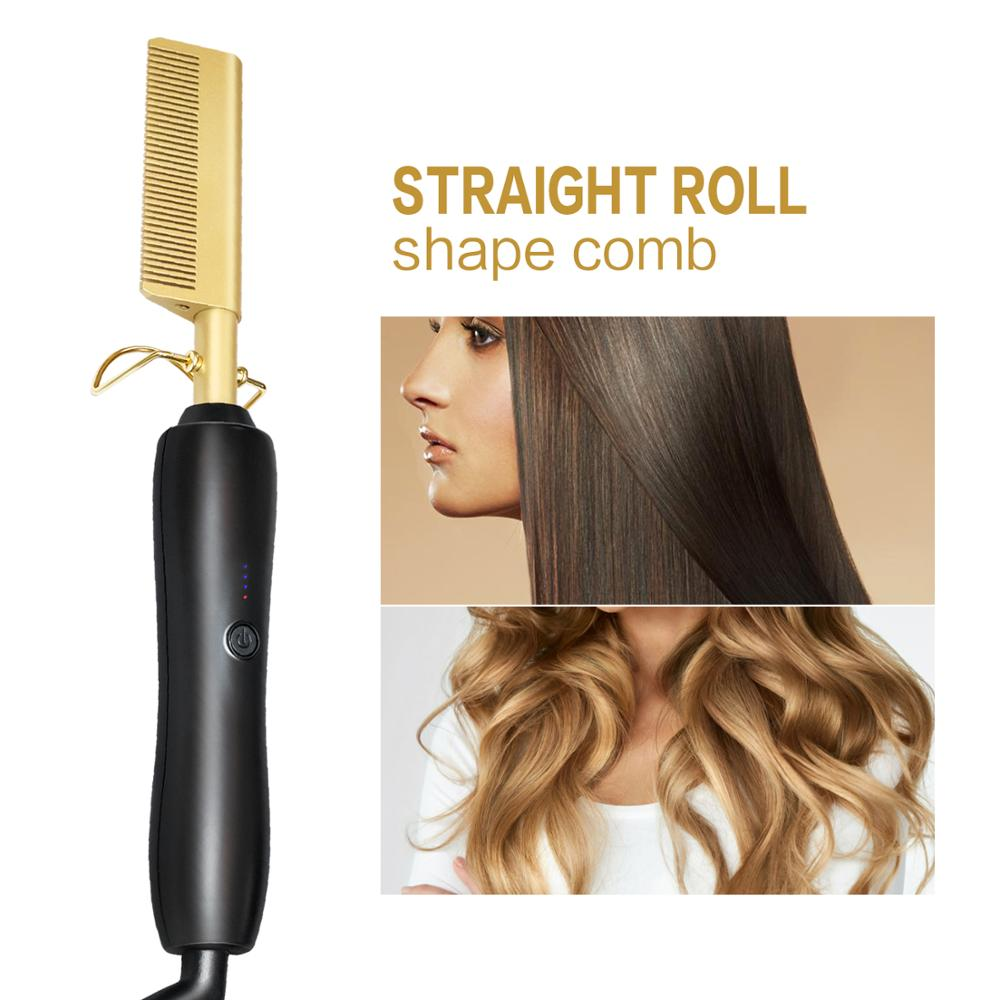 High Heat Hair Styling Hot Comb Electric Friendly Titanium Alloy Hair Straightener/Curling Beard Straightener Gold Iron Comb