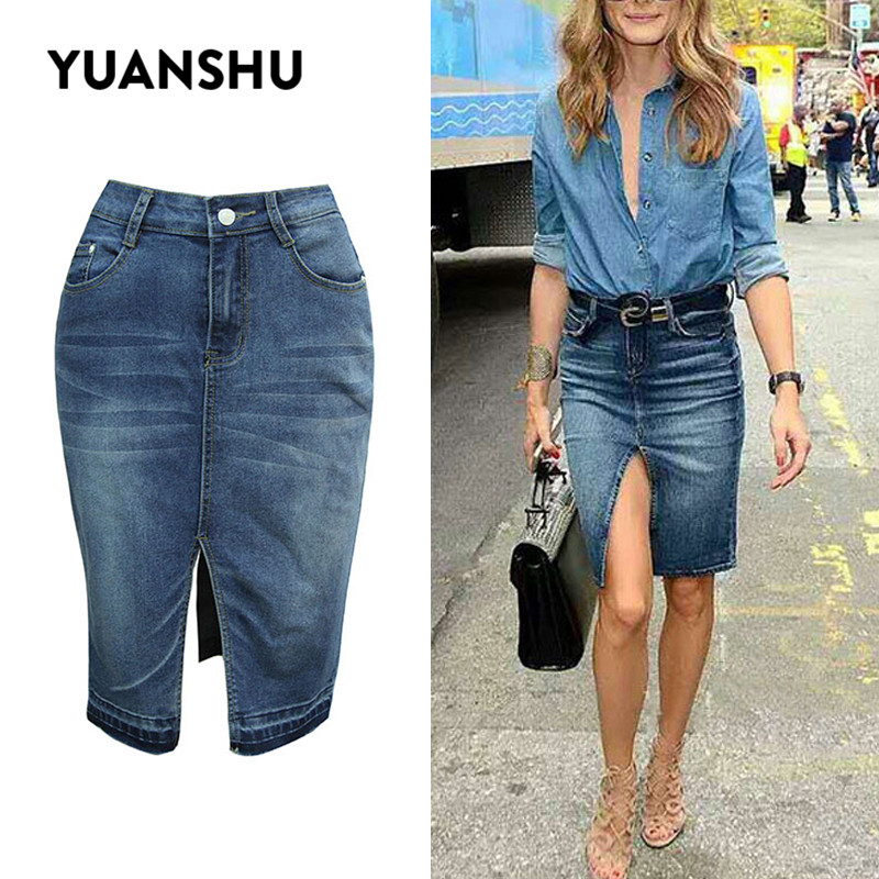 YUANSHU Women Fashion High Waist Cotton Jean Skirt Sexy Split Bleached Bodycon Denim Skirts Female Casual Washed Midi Skirts