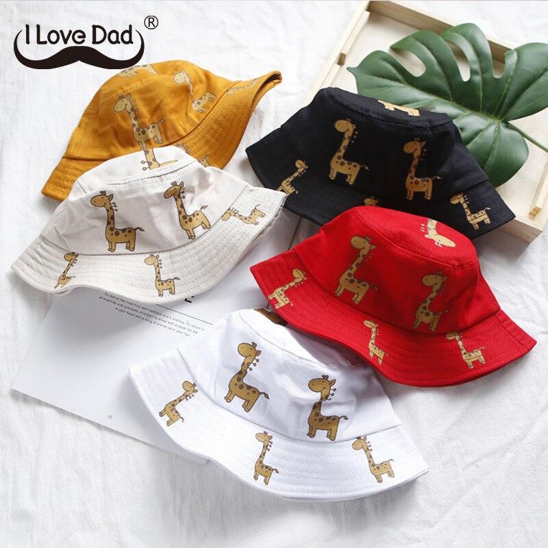 Karikatür zürafa bebek şapka kova kapağı yaz çocuklar bebek kız erkek şapka rahat çocuk güneş şapkası pamuk kız şapka Panama kapaklar