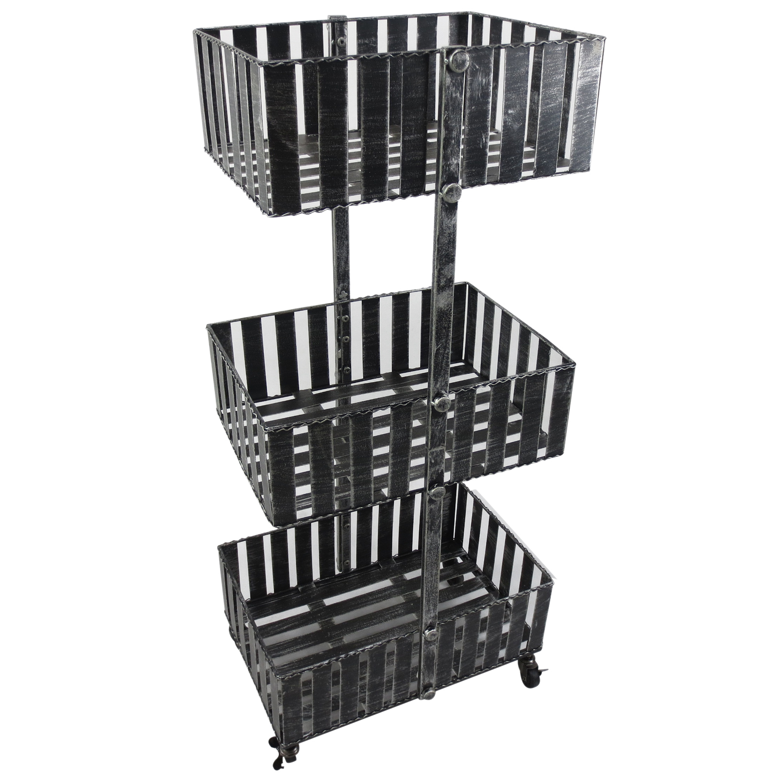 Outsunny Basket Planter 3 Shelves 4 Swivel Wheels (2 With Brake) Powder Coated Steel Frame Silver 10 Kg/for