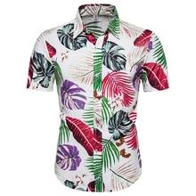 Man Summer Men Hawaiian Shirt Short Sleeve Front-Pocket Beach Floral Printed Blouse Top Tee 2020 New Printed Shirts High Quality