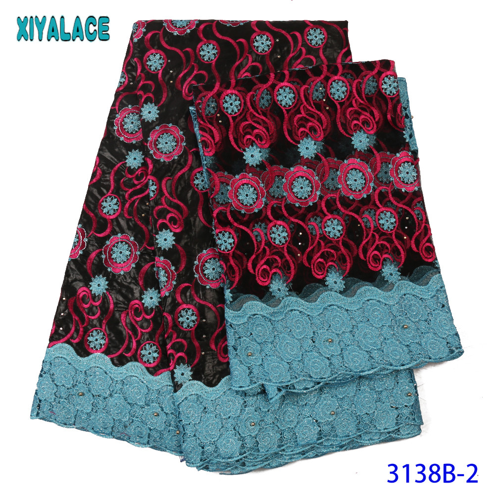 2019 African Lace Fabric Bazin Stones Fabric Lace High Quality Cord And Jacquard Lace With Net Lace Set For Party KS3138B