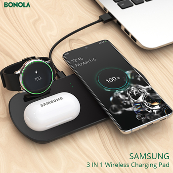 Bonola 3 in 1 Wireless Charging Pad For Samsung S20/Note10/Galaxy Watch/Galaxy Buds Qi Fast Wireless Charger for Samsung S10