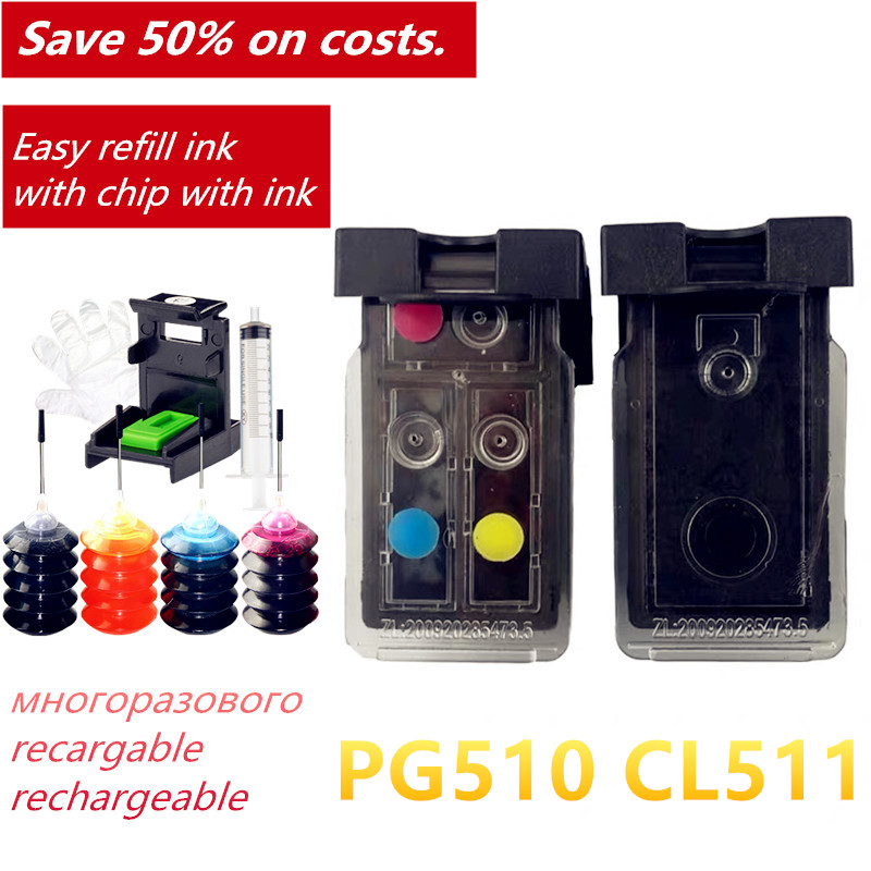 PG510 CL511 Refillable <font><b>Ink</b></font> <font><b>Cartridge</b></font> PG 510 CL 511 for <font><b>Canon</b></font> Pixma IP2700 MP240 <font><b>MP250</b></font> MP260 MP270 MP280 MP480 MP490 image