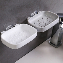 Home Soap Dish Box Bathroom Double-Layer Drain Holder Punch Free Strong Paste Container Creative Cloud Shape