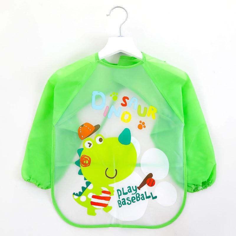 Children Bibs Waterproof Long Sleeve Mickey Minnie Girl Bibs Kids Burp Cloth Feeding Bib With Pocket Child Apron Smock