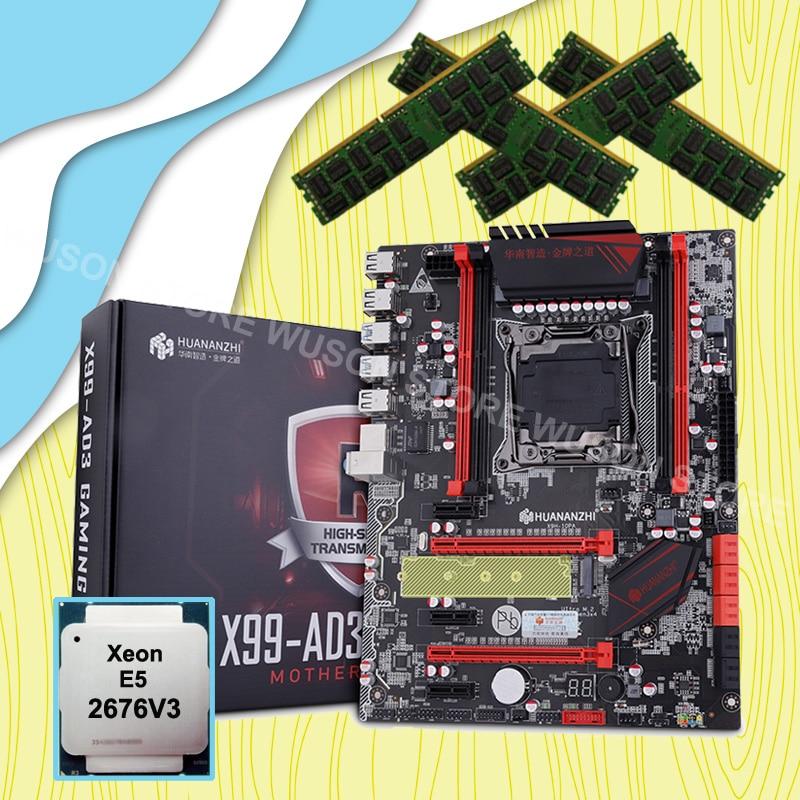 Discount Motherboard Bundle HUANANZHI X99 LGA2011-3 Motherboard With M.2 NVMe Slot CPU Xeon E5 2676 V3 RAM 64G(4*16G) 1866 RECC