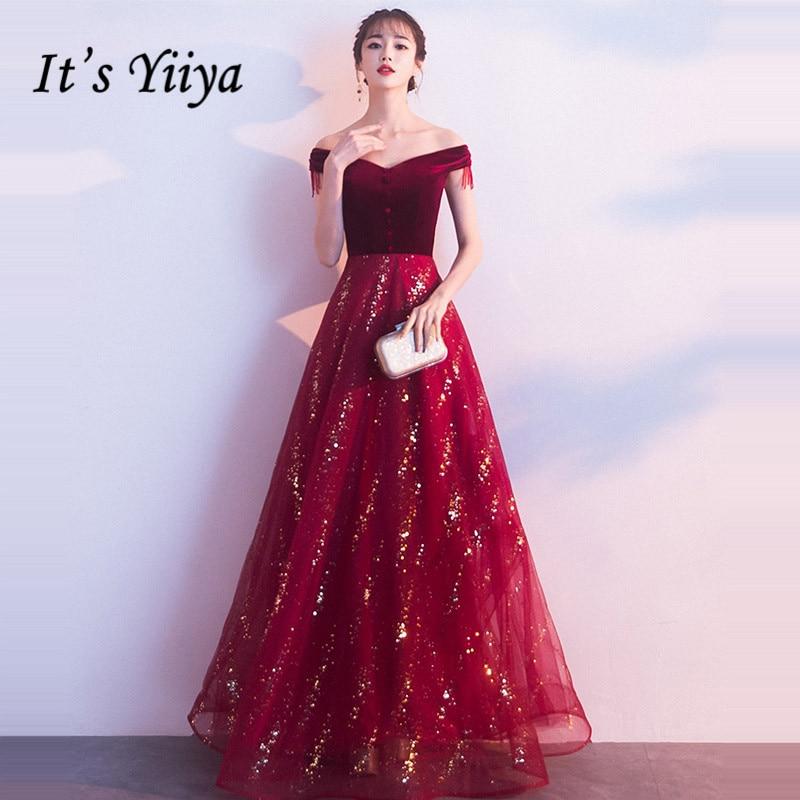 It's Yiiya Evening Dress 2019 Burgundy Sequins Boat Neck A-Line Dresses Vintage Velour Elegant Off Shoulder Formal Dresses E1315