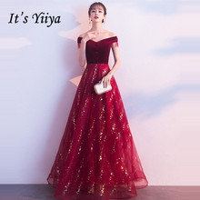 Its Yiiya Evening Dress 2019 Burgundy Sequins Boat Neck A-Line Dresses Vintage Velour Elegant Off Shoulder Formal E1315