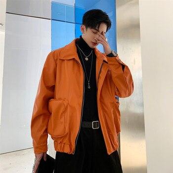 Men Vintage Loose Casual Leather Jacket Male Streetwear Hip Hop Faux Fur Short Bomber Jacket Outerwear Stage Costumes