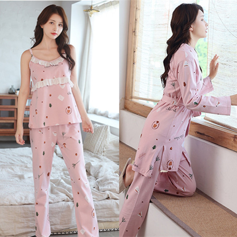 Sexy Floral Print Cotton Maternity Nursing Sleepwear Spring Breastfeeding Nightwear for Pregnant Women Pregnancy Pajamas Suits