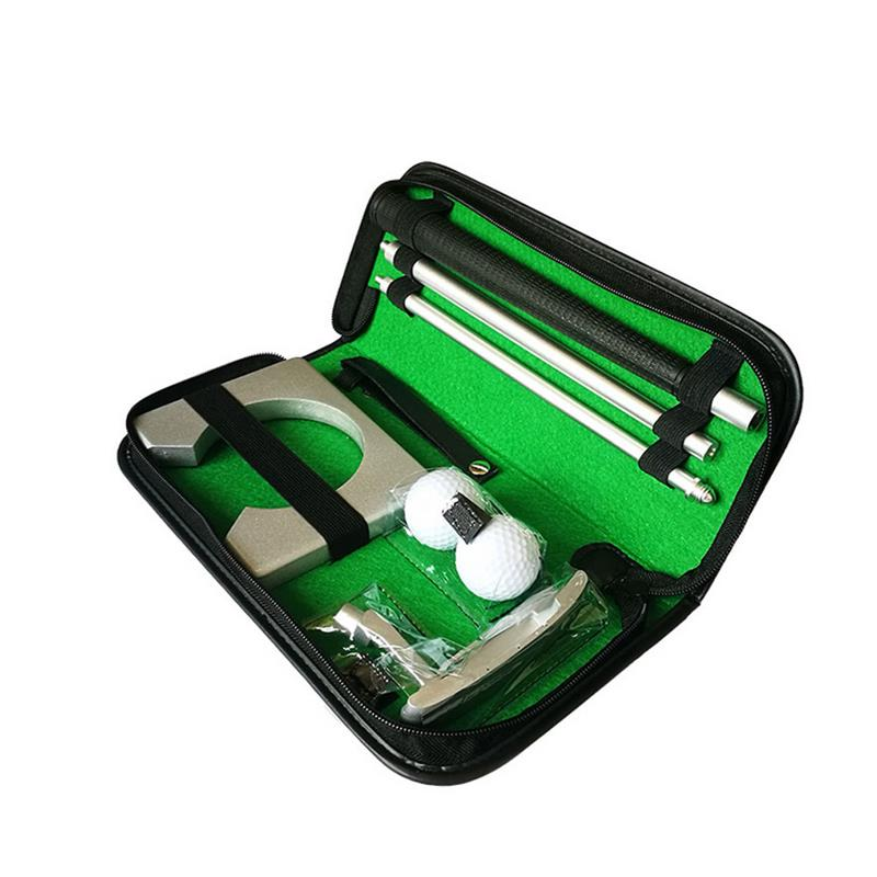 Portable Golf Putter Kit With Ball Hole-Cup Golfer Training Set With Box For Travel Indoor Golf Putting Practice Silver