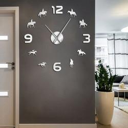 At yarışı DIY dev duvar saati at yarışı duvar sanatı ülke ev Racehorses dekor çerçevesiz duvar saati için bir hediye jokey