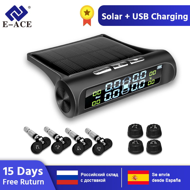 E-ACE K01/K02 Car Safety Tire Pressure Alarm System Solar Power Digital Display Smart Car TPMS Tire Pressure Monitoring System