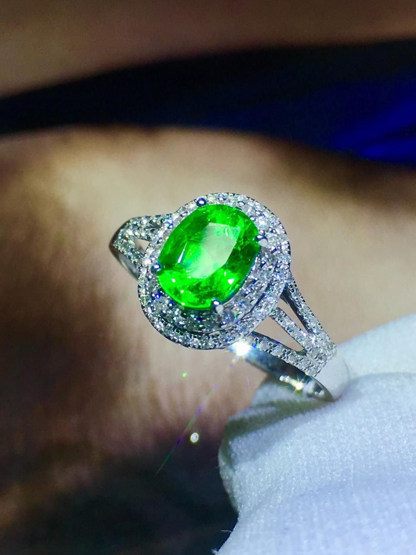 Fine Jewelry Real 18K White Gold 100% Natural Unheat 1.46ct Tsavorite Gemstones 18k Tsavorites Diamonds Female Wedding Rings