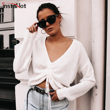 InstaHot White Green Drawstring Knitted T shirts Women Loose Deep V-neck Elegant Long Sleeve Casual Solid Autumn Cotton Top