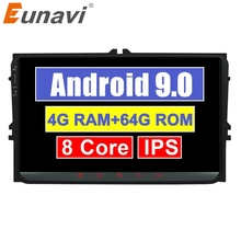 Eunavi 2 Din samochodowe Multimedia Android Radio GPS dla VW Volkswagen Passat b6 Polo Golf 5 Magotan Seat Radio samochodowe Stereo 9 DSP RDS