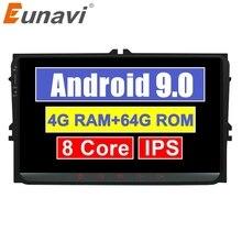 Eunavi 2 דין מולטימדיה לרכב אנדרואיד רדיו GPS עבור פולקסווגן פולקסווגן פאסאט b6 פולו גולף 5 Magotan מושב Autoradio סטריאו 9 DSP RDS