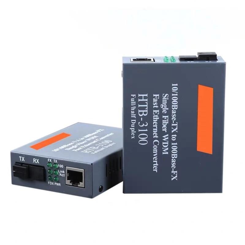 HTB-3100AB 10/100M Base-TX Optical Fiber Ethernet Media Converter Single Singlemode Fiber Converter 25km SC 10/100M