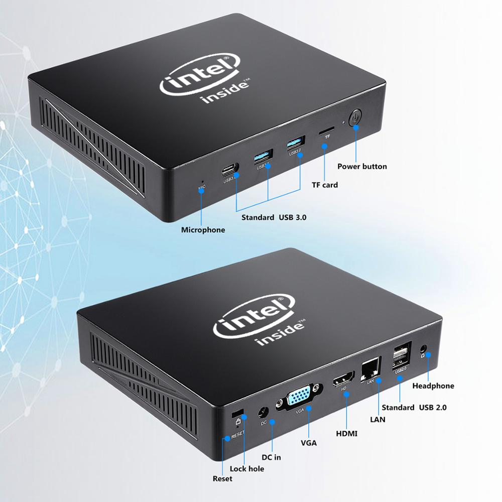 Fanless Mini PC with USB 3.0 USB 2.0 USB type-C and HDMI Port Option and Intel Celeron J3455 CPU for Windows 10 5
