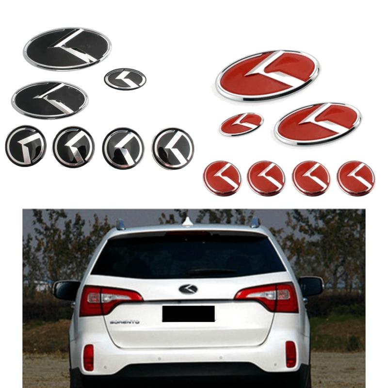 7Pcs for KIA K Emblem K2 K3 K4 K5 Sorento Car Steering Wheel Stickers Wheel Center Decals Auto Front Decal Rear Badge Styling