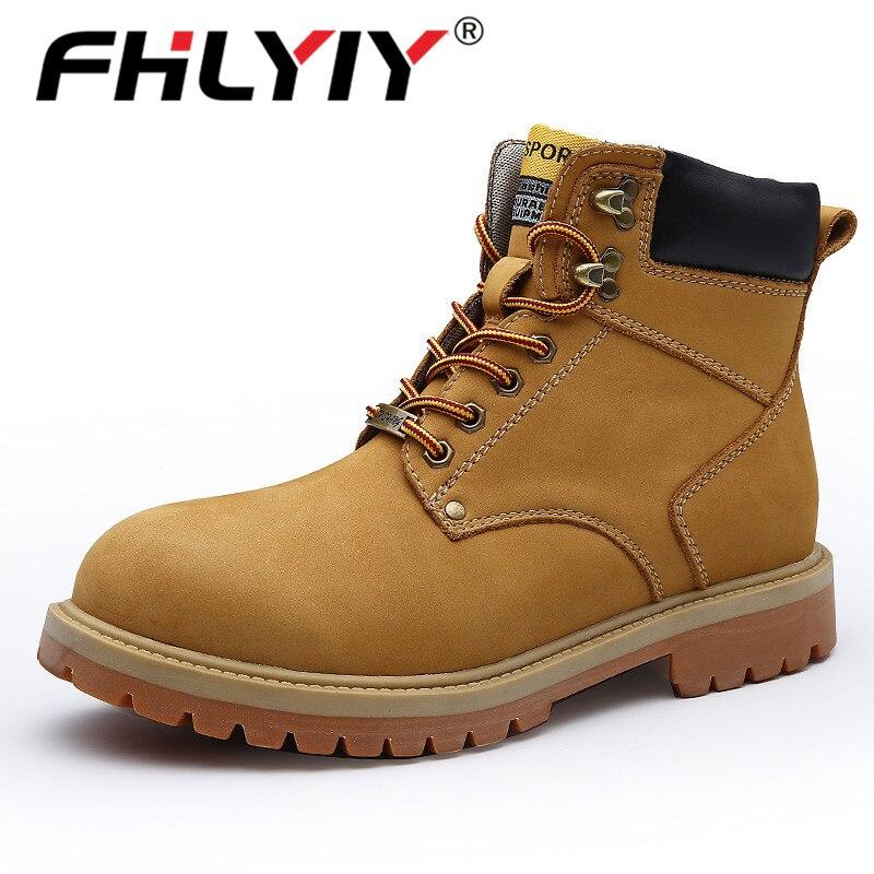Fhlyiy marque hommes chaussures d'hiver bois chaussures De terre en cuir bottes hommes automne cheville chaussures confortable en caoutchouc chaussures Zapatos De Hombre