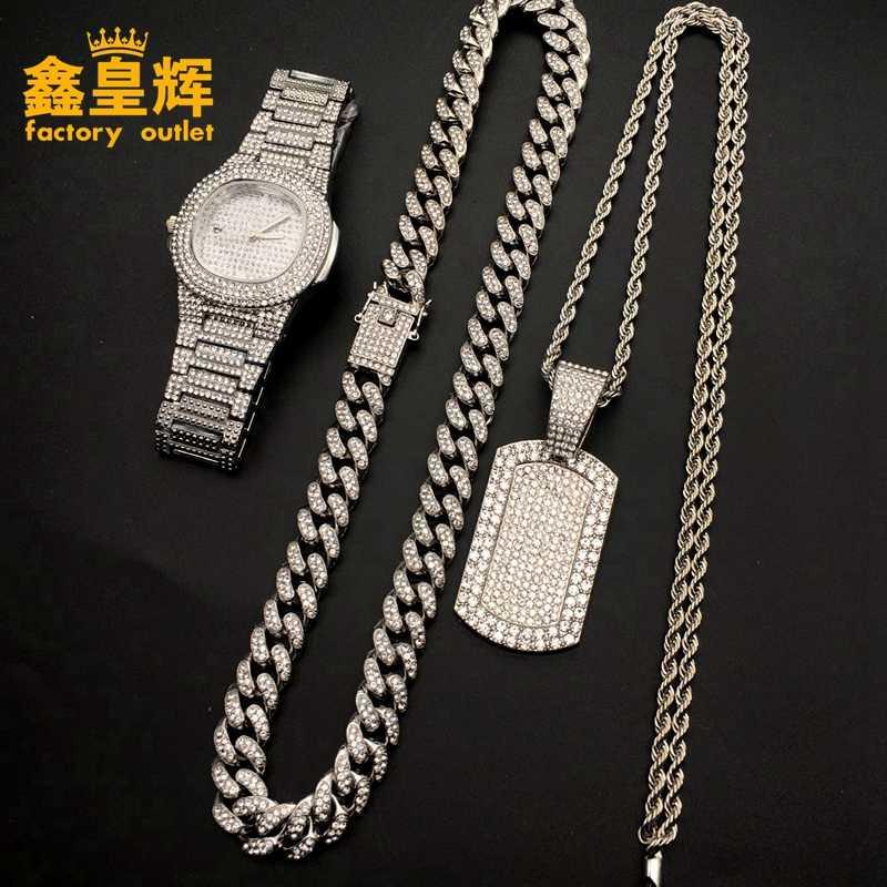 Luksusowy męski zegarek frozen kubański zegarek hip-hopowy i długi naszyjnik diamentowy i bransoletka i pierścionek połączenie męskiej biżuterii