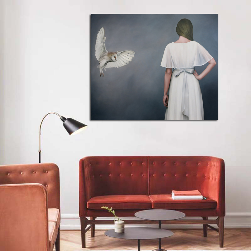 Bird Flying To White Skirt Woman Pictures Wall Poster Modern Style Canvas Print Painting Art Aisle Living Room Unique Decoration