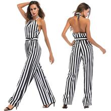 Striped Jumpsuit for Women Backless High Waist Bodysuit Elegant Office Ladies Casual Slim Long Pants Romper