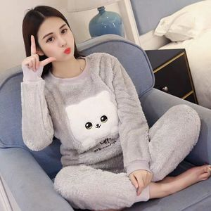 New 2020 Autumn Winter Warm Flannel Women Pyjamas Sets Thick Coral Velvet Long Sleeve Cartoon Sleepwear Flannel Pajamas Set Girl