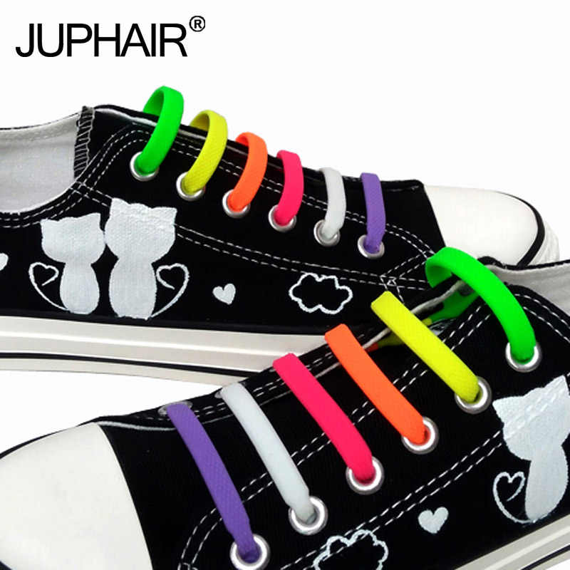 JUP 1 Conjunto Adultos Unissex Moda Sem Gravata Elásticas Cadarços de Silicone Das Mulheres Dos Homens Sapatos Baixos Calçado de Corrida Recreativa 16 pcs /pac