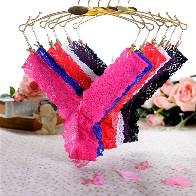 Women Lace Underwear Panties Sexy Black T-back G-String Briefs Lingerie Knickers G String Thongs