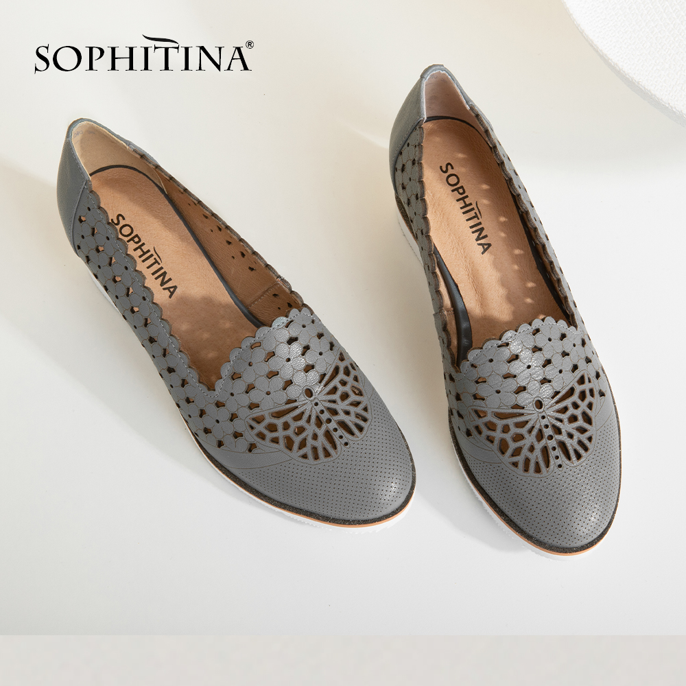 SOPHITINA Women's New Pumps High Wedges Genuine Leather Hollowing Out Round Toe Casual Shoes Handmade Slip-On Shallow Pumps SC40