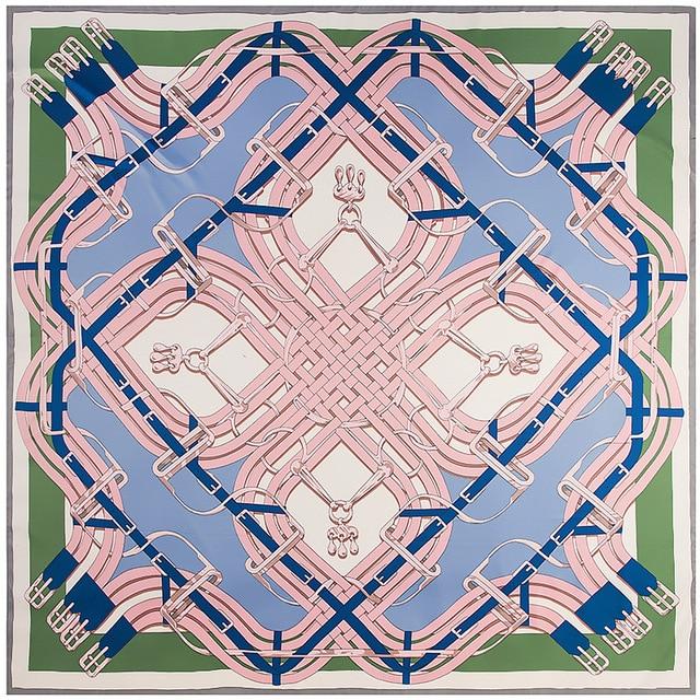 130cm New Twill Silk Scarf Bandana Belt Button Printing Winter Scarf Luxury Brand Silk Scarves Women Shawls Wrap Wholesale