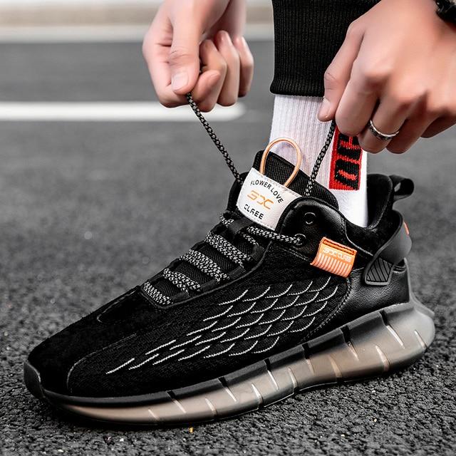 Zapatillas de correr para hombre, transpirables, cómodas, de alta calidad, para trotar, zapatos blancos de suela gruesa, calzado deportivo informal 4