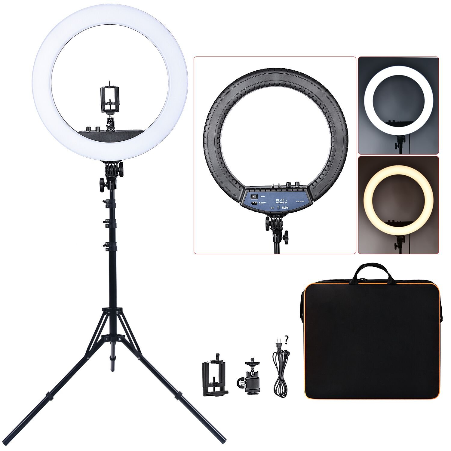 FOSOTO RL 18II Ring Lamp 18 Inch Photographic Lighting Ringlight 512Pcs Led Ring Light With Tripod Home v7 VC