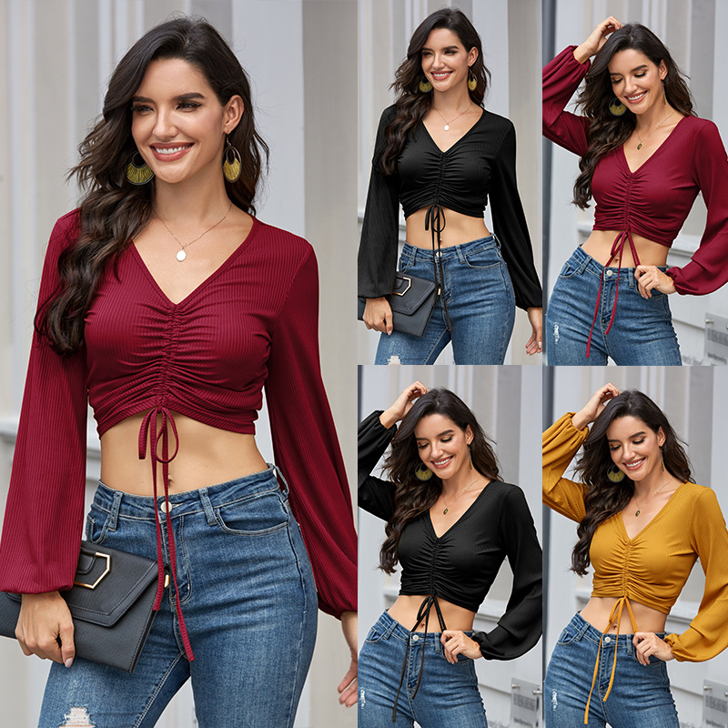 Women <font><b>Sexy</b></font> V neck Expose <font><b>Belly</b></font> Short T <font><b>shirts</b></font> Long Lantern Sleeve Drawstring Tops Female Crop Tops image