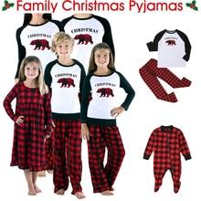 Conjunto de pijamas de Navidad a Juego de Familia de algodón para hombres y mujeres y niños, ropa de dormir, ropa de dormir, cuadros rojos, negro, sólido, pantalones Casuales