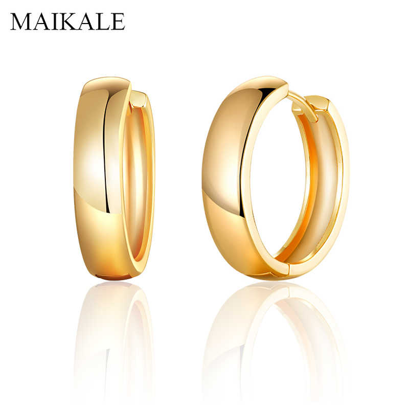 MAIKALE Simple Gold Silver Hoop Earrings for Women Metal Copper Round Circle Earrings Women Accessories Fashion Jewelry Gifts