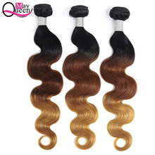 купить May Queen Hair Ombre Brazilian Body Wave 3&4Pieces T1B/4/27 Three Tone Color Remy Hair Extensions 100% Human Hair Weave Bundles дешево