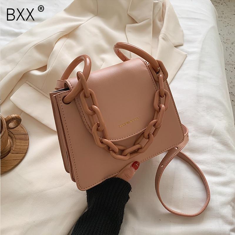 [BXX] PU Leather Crossbody Bags For Women 2020 Spring Chain Shoulder Messenger Handbags Female Summer Travel Mini Bag HL587