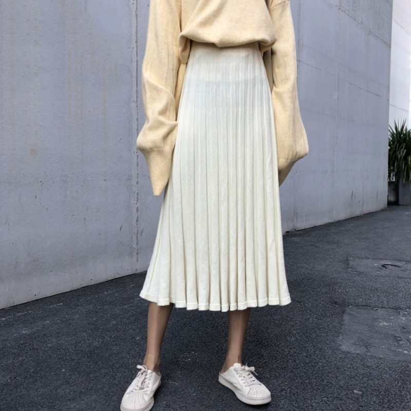 Knit Pleated Skirt Women 2019 Autumn Winter Korean High Waist Loose Women's Skirts Black Apricot Preppy Style Midi Faldas Mujer-in Skirts from Women's Clothing on AliExpress - 11.11_Double 11_Singles' Day 1
