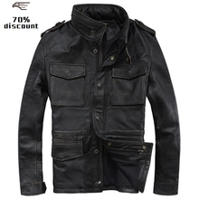 2020 Vintage Black Men M65 Leather Jacket Plus Size 4XL Genuine Thick Cowhide Ru