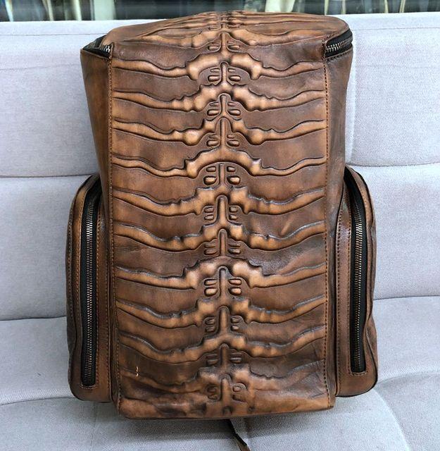 Ανδρικά σακίδια μεγάλης χωρητικότητας vintage δερμάτινη τσάντα ταξιδιού ρετρό βαμμένο old bone γνήσιο δέρμα