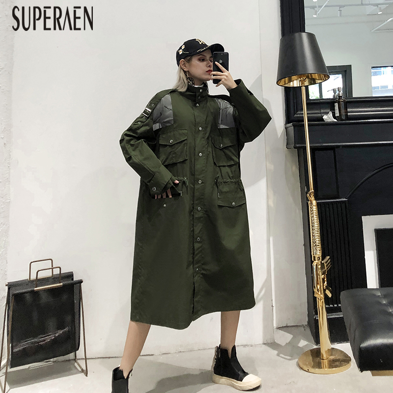 SuperAen 2019 Europe Fashion Windbreaker Female New Spring and Autumn Pluz Size   Trench   Coat for Women Casual Wild Women Clothing