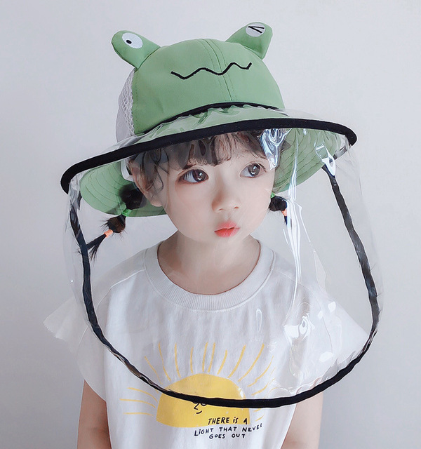 Summer Kids Bucket Hat Baby Protective Face Shield Cover Mask Hat Anti Saliva Dustproof Dual-use Mesh Breathable Sun Hat Cap 4